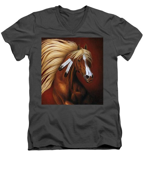 Men's V-Neck T-Shirt featuring the painting Fire Dance by Pat Erickson