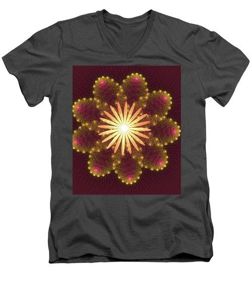 Fire Flower Mandala Men's V-Neck T-Shirt