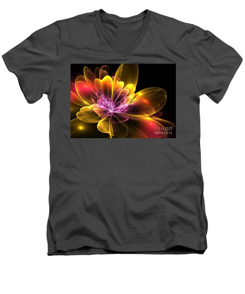 Fire Flower Men's V-Neck T-Shirt by Svetlana Nikolova
