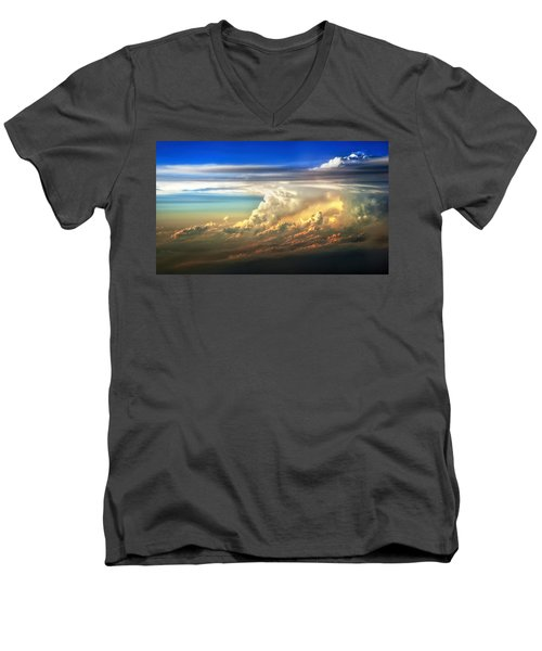 Fire In The Sky From 35000 Feet Men's V-Neck T-Shirt