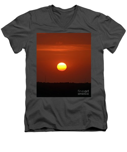 Men's V-Neck T-Shirt featuring the photograph Fire In The Sky by Kerri Farley