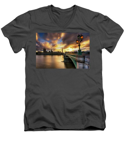 Fire In The Sky Men's V-Neck T-Shirt by Yhun Suarez