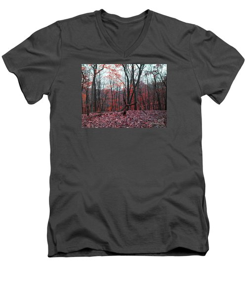 Fire In The Woodland Men's V-Neck T-Shirt
