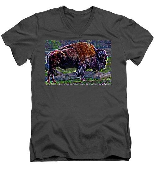 Fire Of A Bison  Men's V-Neck T-Shirt