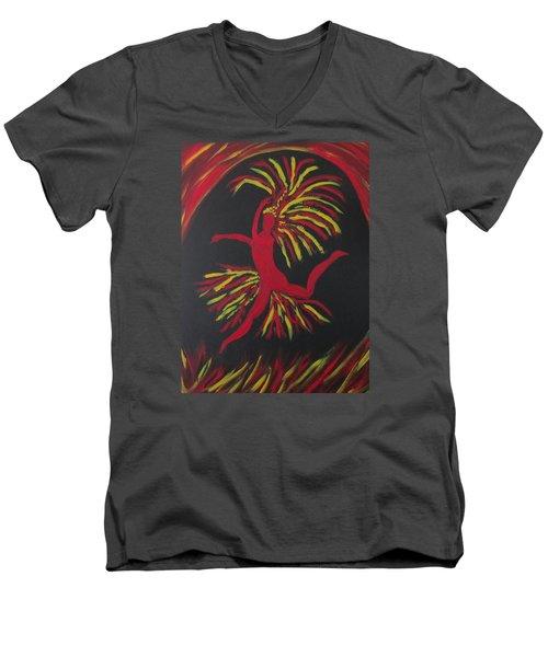 Firebird Men's V-Neck T-Shirt by Sharyn Winters