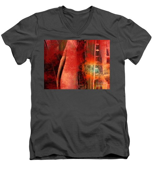 Men's V-Neck T-Shirt featuring the painting Firefall  by Yul Olaivar