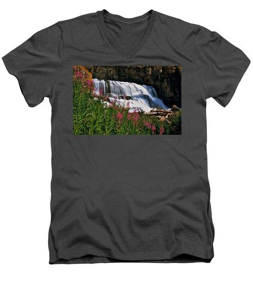 Fireweed Blooms Along The Banks Of Granite Creek Wyoming Men's V-Neck T-Shirt