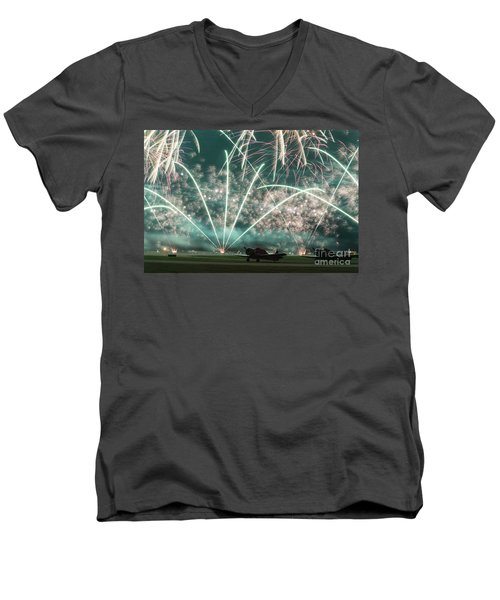 Fireworks And Aircraft Men's V-Neck T-Shirt