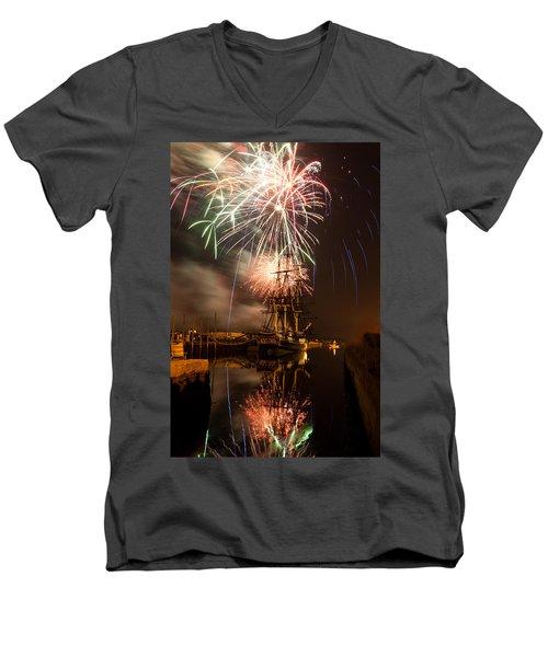 Fireworks Exploding Over Salem's Friendship Men's V-Neck T-Shirt