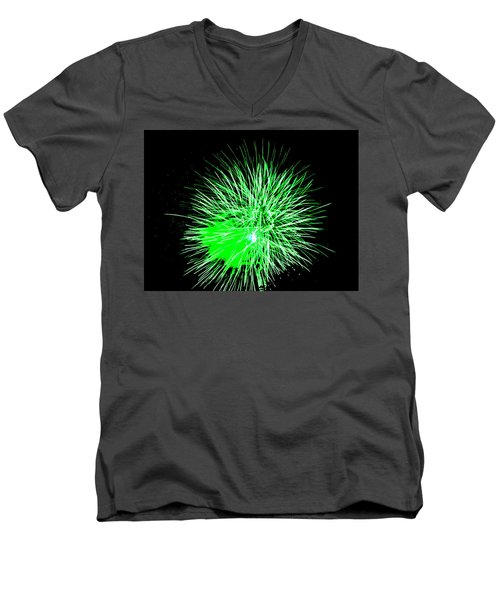 Men's V-Neck T-Shirt featuring the photograph Fireworks In Green by Michael Porchik