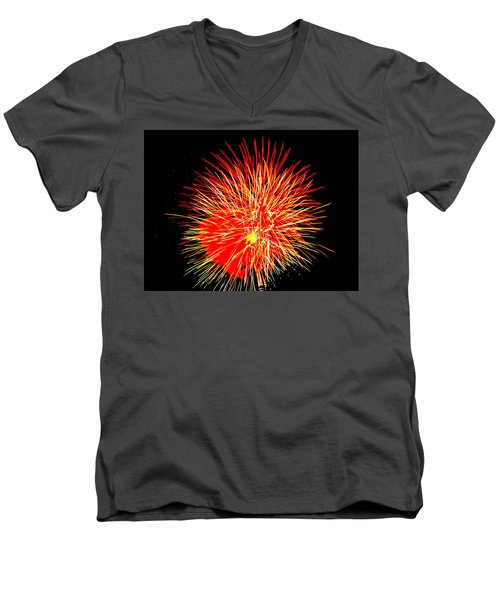 Fireworks In Red And Yellow Men's V-Neck T-Shirt by Michael Porchik