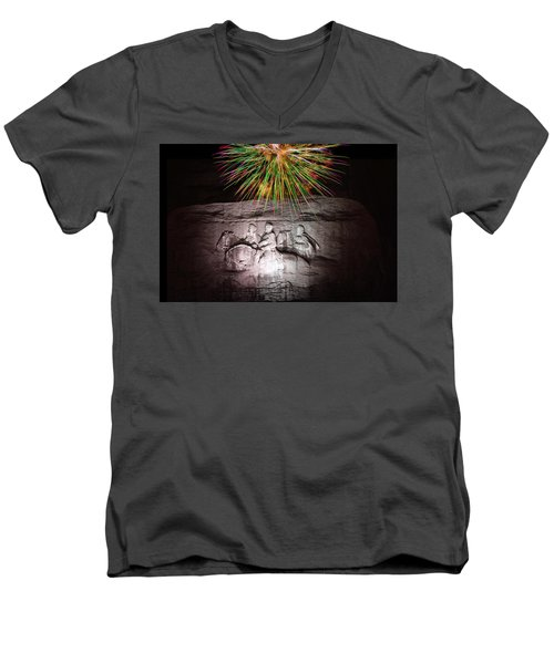Fireworks Over Stone Mountain Men's V-Neck T-Shirt