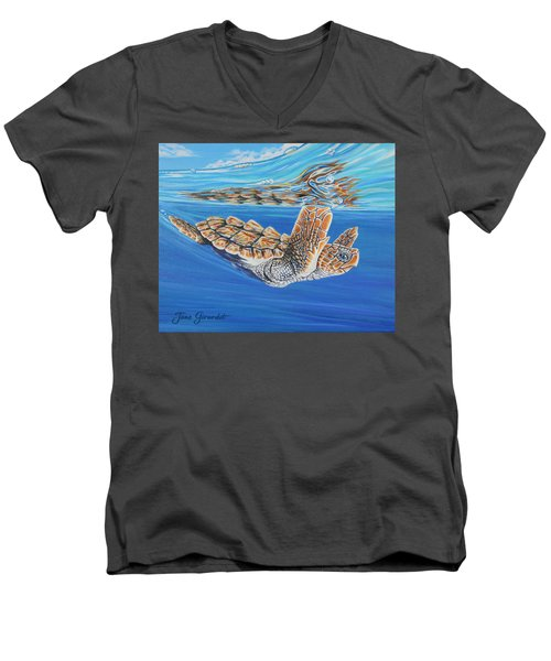 First Dive Men's V-Neck T-Shirt by Jane Girardot