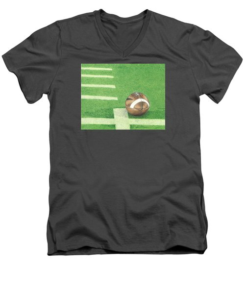 First Down Men's V-Neck T-Shirt by Troy Levesque