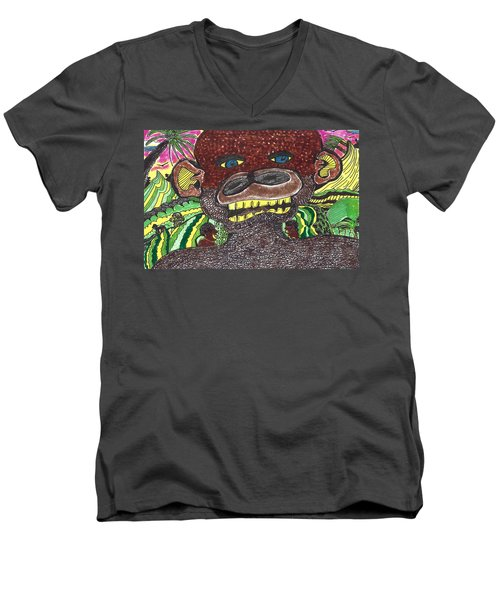 Men's V-Neck T-Shirt featuring the drawing First Jungle by Don Koester