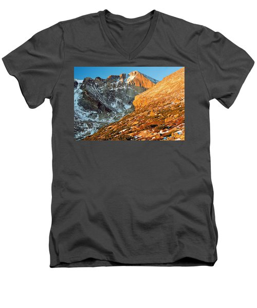 First Light At Longs Peak Men's V-Neck T-Shirt by Eric Glaser