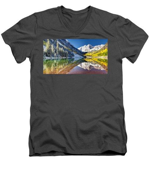 First Snow Maroon Bells Men's V-Neck T-Shirt