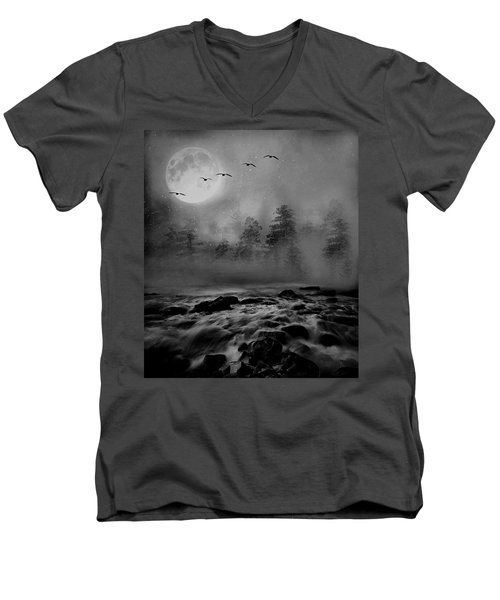 First Snowfall Geese Migrating Men's V-Neck T-Shirt