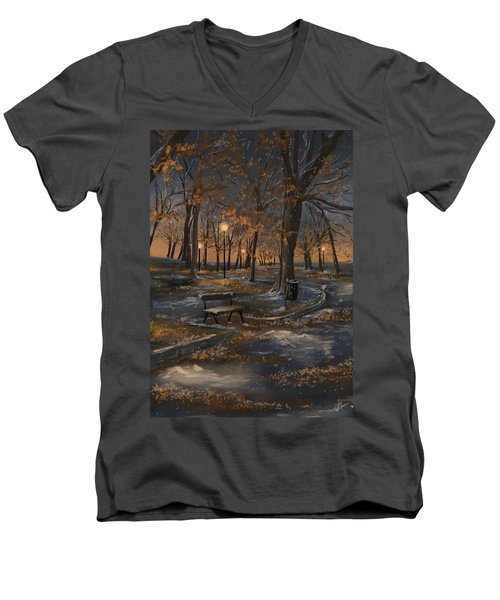 First Snowfall Men's V-Neck T-Shirt by Veronica Minozzi