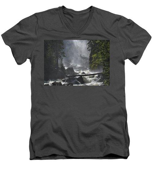 Men's V-Neck T-Shirt featuring the photograph Fish Creek Mist by Don Schwartz