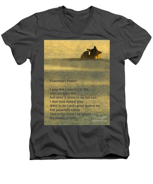 Fisherman's Prayer Men's V-Neck T-Shirt by Robert Frederick