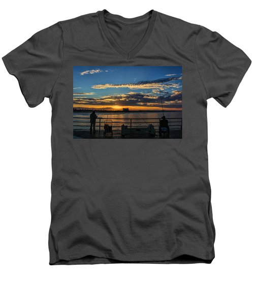 Men's V-Neck T-Shirt featuring the photograph Fishermen Morning by Tammy Espino