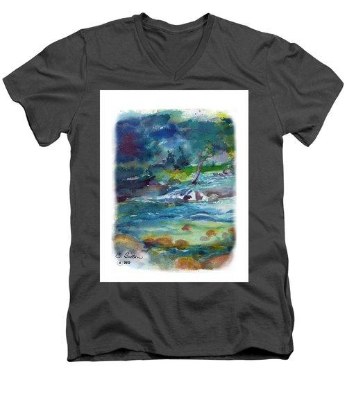 Fishin' Hole 2 Men's V-Neck T-Shirt by C Sitton
