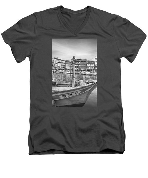 Fishing Boat B W Men's V-Neck T-Shirt