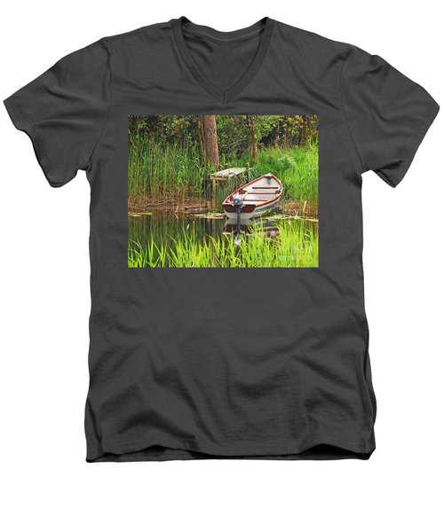 Men's V-Neck T-Shirt featuring the photograph Fishing Boat by Mary Carol Story