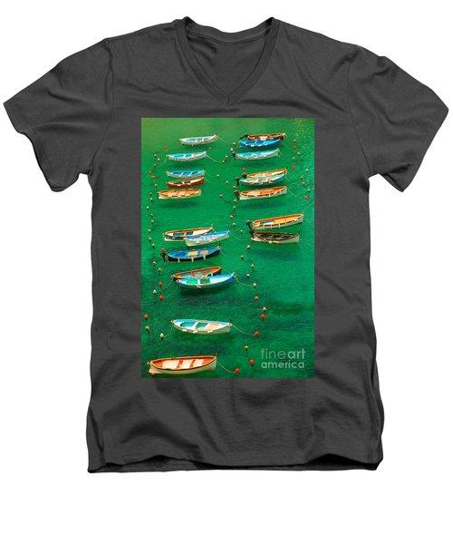 Fishing Boats In Vernazza Men's V-Neck T-Shirt by David Smith