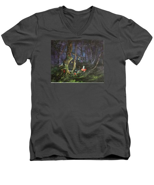 Men's V-Neck T-Shirt featuring the painting Fishing For Supper On Cannock Chase by Jean Walker