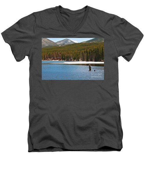 Men's V-Neck T-Shirt featuring the photograph Fishing In Winter by Mae Wertz