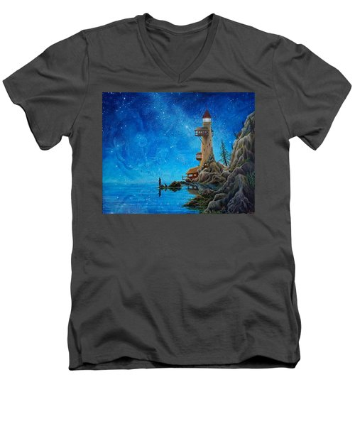Fishing Men's V-Neck T-Shirt by Matt Konar