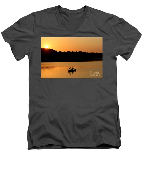Men's V-Neck T-Shirt featuring the photograph Fishing Silhouette  by Kathy  White