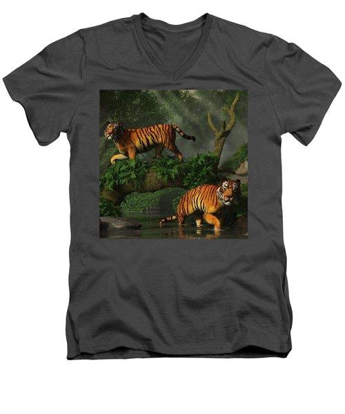 Fishing Tigers Men's V-Neck T-Shirt
