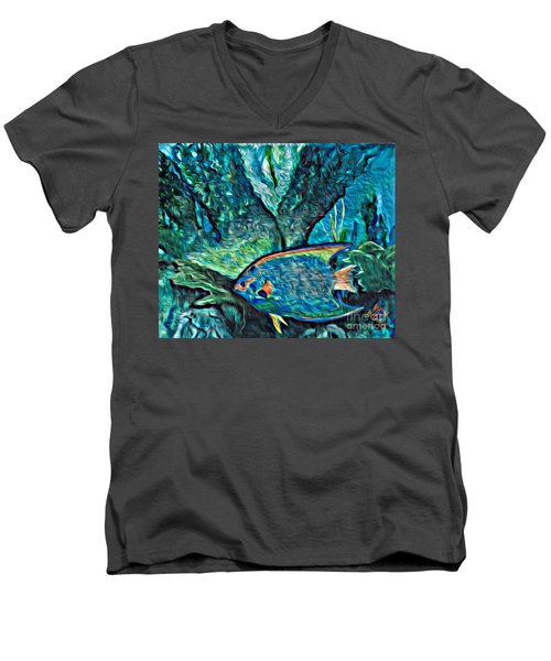 Men's V-Neck T-Shirt featuring the painting Fishscape by Ecinja Art Works