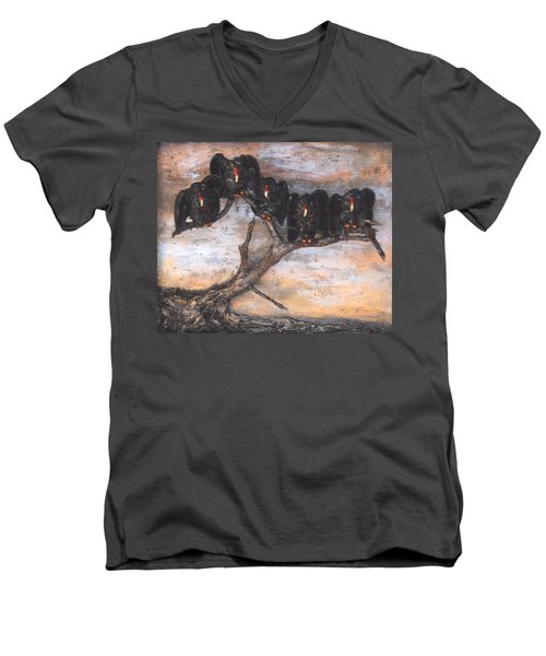 Five Vultures In Tree Men's V-Neck T-Shirt