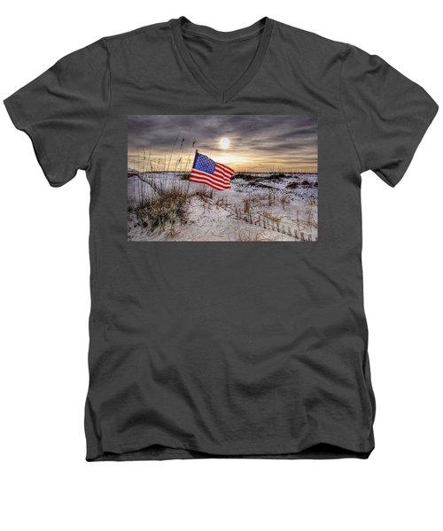 Flag On The Beach Men's V-Neck T-Shirt