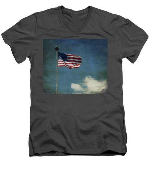 Flag - Still Standing Proud - Luther Fine Art Men's V-Neck T-Shirt