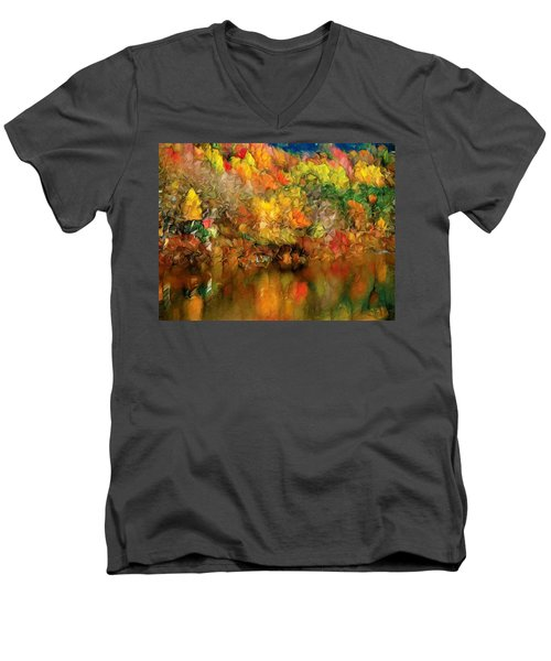 Flaming Autumn Abstract Men's V-Neck T-Shirt