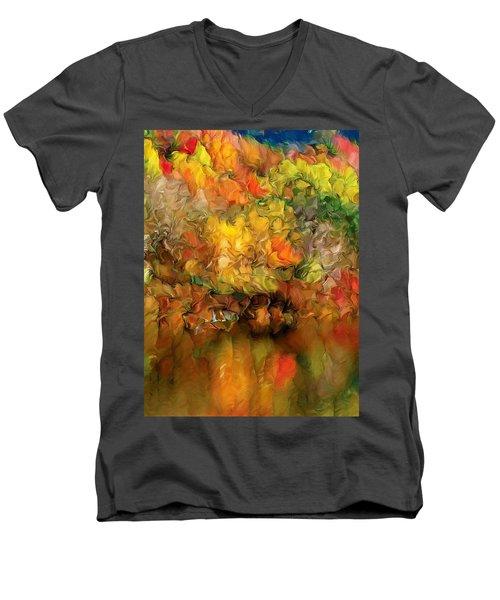 Flaming Autumn Abstract Men's V-Neck T-Shirt