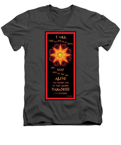 Flaming Celtic Sun Men's V-Neck T-Shirt