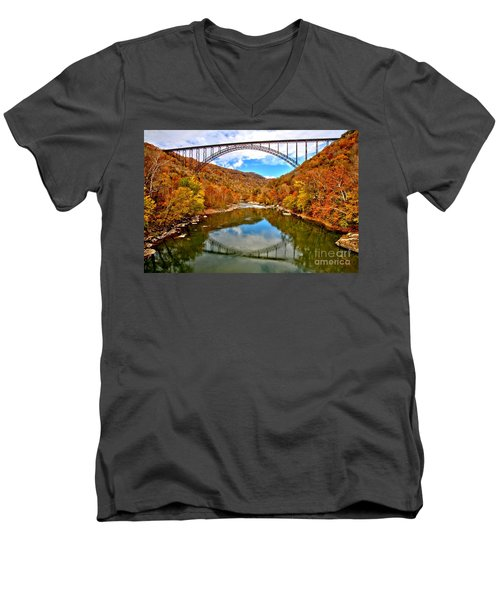 Flaming Fall Foliage At New River Gorge Men's V-Neck T-Shirt by Adam Jewell