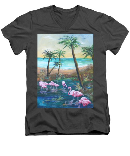 Flamingo Beach Men's V-Neck T-Shirt