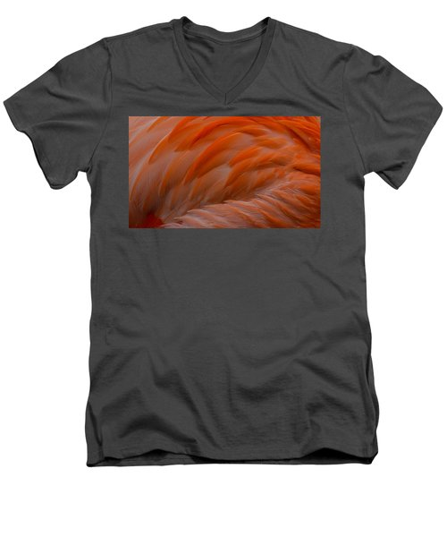 Flamingo Feathers Men's V-Neck T-Shirt by Michael Hubley