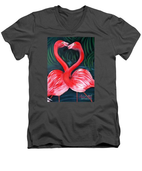 Flamingo Love Card Men's V-Neck T-Shirt