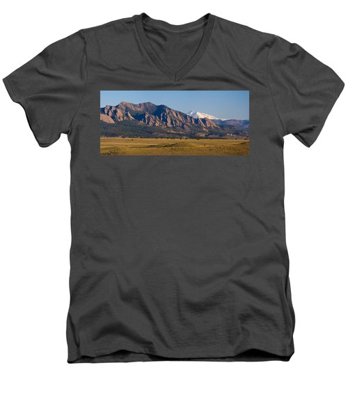 Flatirons And Snow Covered Longs Peak Panorama Men's V-Neck T-Shirt