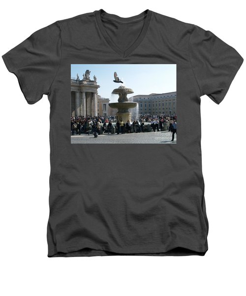 Men's V-Neck T-Shirt featuring the photograph Flight And Fountain by Robin Maria Pedrero