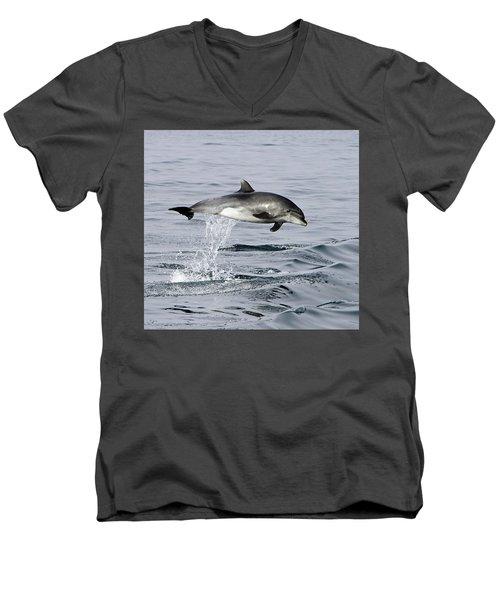 Flight Of The Dolphin Men's V-Neck T-Shirt by Shoal Hollingsworth