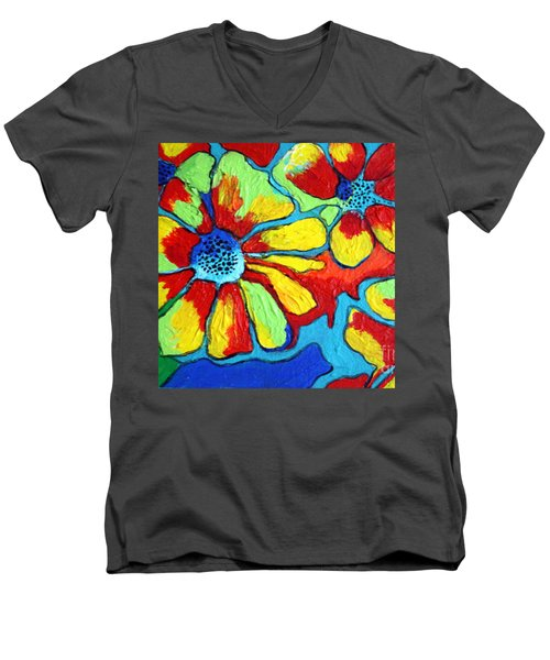 Floating Flowers Men's V-Neck T-Shirt by Alison Caltrider